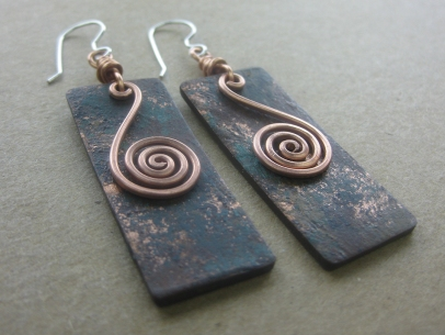 copper spiral earrings 3-4 view