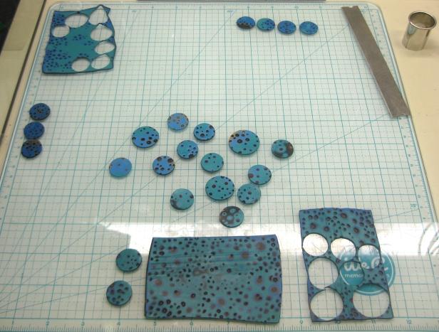 turquoise discs unbaked
