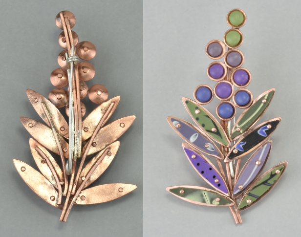 lupine brooch front and back